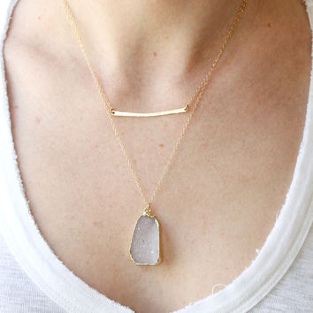 Gold bar necklace - simple gold necklace - dainty gold necklace - delicate gold necklace - hammered gold jewelry - gold filled jewelry