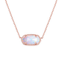 Elisa Rose Gold Pendant Necklace in White Kyocera Opal - Kendra Scott Jewelry