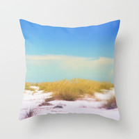 White Dunes - Throw Pillow Cover, Blue & Green Coastal Home Accent, Beach Surf Style Home Furnishing Pillow. 14x14 16x16 18x18 20x20 26x26