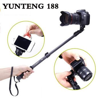 Tracking number Top Quality YT 188 Portable Handheld Telescopic Monopod Tripod For iphone gopro Cameras Cell Phones With Holder