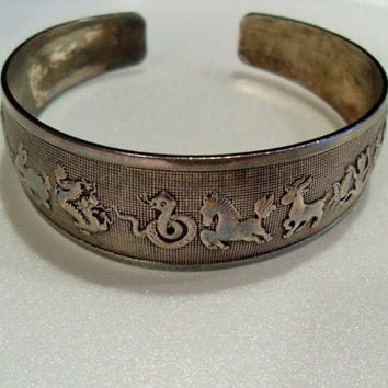 Chinese Miao Silver cuff bracelet, Asian animal zodiac bracelet, Vintage Asian collectible, Gift under 30 Gingerslittlegems