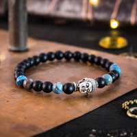 Matte black onyx & blue crazy lace agate beaded stretchy bracelet with silver Buddha, made to order bracelet, mens bracelet, womens bracelet