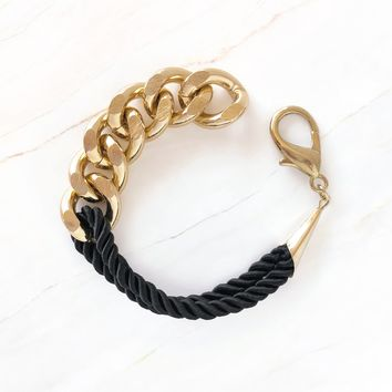Double Twisted Rope & Curb Chain Bracelet