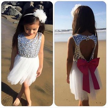 Princess Sleeveless Tulle Tutu Bow Backless Dress Summer New Baby Girl Cute Dress Sequins Love Party Gown Formal Cute