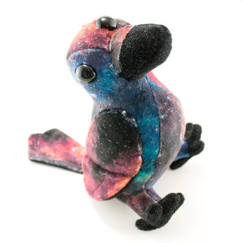 Cosmic Crow Stuffed Animal, Plush Toy, Plushie, Three Eyed Crow, Galaxy Printed
