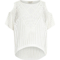 River Island Girls white crochet knit cold shoulder sweater