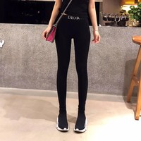 Dior Women Casual Fashion All-match Embroidery Letter Cotton Thickened Leggings Trousers Sweatpants