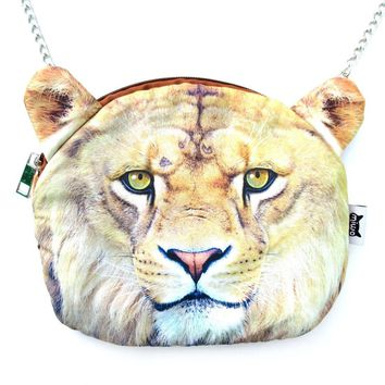 Realistic Lion Face Shaped Soft Fabric Zipper Photo Print Cross Body Shoulder Sling Bag