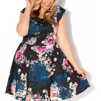 Plus Size Occasion Floral Mesh Insert Skater Dress