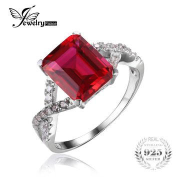 JewelryPalace Emerald Cut 4.6ct Created Red Ruby Promise Ring 925 Sterling Silver Rings For Women 2016 New Fashion Ring