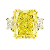 10 Carat Natural Fancy Yellow Radiant Cut Diamond Ring