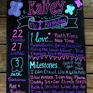 first birthday chalkboard, 1st birthday chalkboard, butterfly birthday chalkboard, butterfly birthday sign, favorites sign, milestones sign