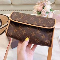 Louis Vuitton LV Fashion Retro Women Leather Purse Waist Bag Shoulder Bag Satchel
