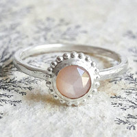 Peach Moonstone and Sterling Silver Stacking Ring - Pink Stone Ring - Bridesmaid Jewelry - Peach Moonstone Ring - Rose Cut Gemstone Ring