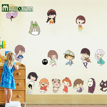 Hayao Miyazaki Animation Ghibli Totoro Wall Stickers For Kids Room Cartoon My Neighbor Totoro Wallpaper Home Decor Wall Art