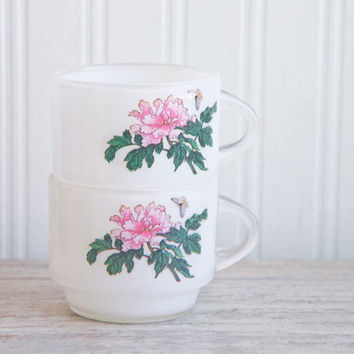 Vintage Foral Tea Cups - Cottage Pink White - Glamping Tea Party