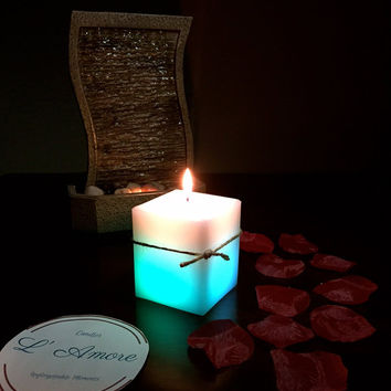 16oz Real Flame LED White Square Pillar Candle, it changes into different beautiful colors once lit.
