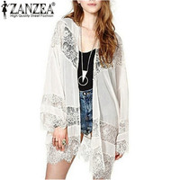 Women Casual Vintage Boho Kimono Cardigan Lace Crochet Chiffon Loose Outwear Blouse Tops Plus Size S-5XL