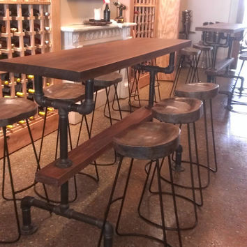 RESTAURANT TABLE: Industrial Farmhouse Bar Height Kitchen Table