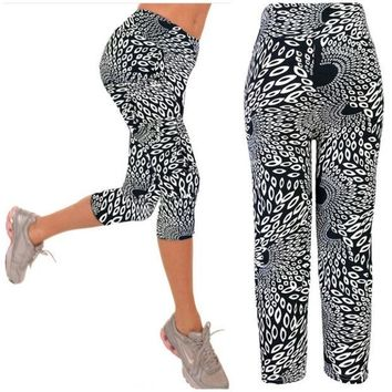 LMFUG3 Capri Leggings High Waisted  black white Print Yoga Pants Lady's Finess Workout Casual Pants Gym Wear = 1933312196