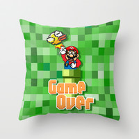Flappy Bird VS Mario Brothers 8 bit Punch Throw Pillow case by Three Second