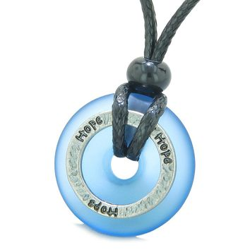Inspirational Sea Glass Lucky Could Blue Donut Hammered Brass HOPE Energy Circle Adjustable Necklace