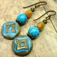 Larimar Blue Crazy Lace Agate Czech Coin Yellow Opal Niobium Earrings