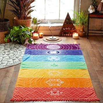 7 Chakra Rainbow Wall Hanging Tapestry, 59 x 30in