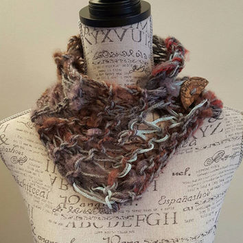 knit disheveled button scarfie.  Glitter hints. Made by Bead Gs on ETSY. neon white Infinity scarf.