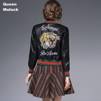 Queen Mulock Tiger Embroidery Black Leather Bomber Jacket Women Autumn coat Slim Black PU Leather female bomber Jacket Coat 2017