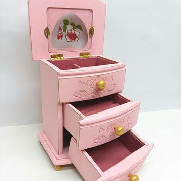 Small Shabby Chic Wooden Jewelry Box Painted Cameo Pink and  Distressed Upcycled Refurbished