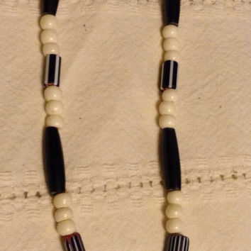 Necklace bone horn chevron buffalo tooth