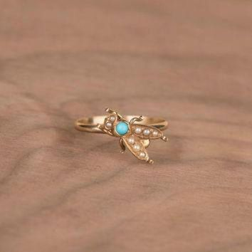 DCKL9 Victorian Turquoise and Seed Pearl Fly Bug 14k Yellow Gold Conversion Ring