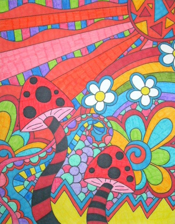 Rainbow Psychedelic Mushrooms And Flowers From Tonitiger415 On