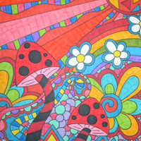 Rainbow Psychedelic Mushrooms and Flowers 8x10 Drawing, Colorful Original Trippy Art, Alternative Drawing, Hippie Shrooms Artwork