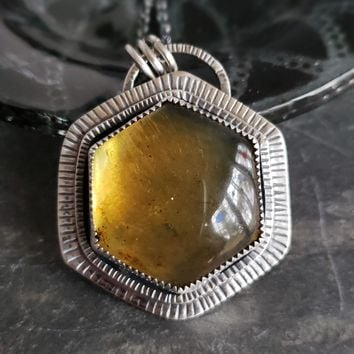 Amber Hexagon Pendant in Sterling Silver