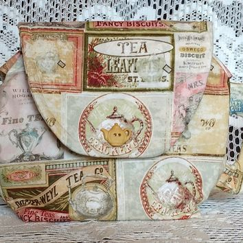 Tea Labels Teapot Shaped Purse Hand Tote - Sewn Just For You -Allow 3-4 Weeks