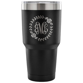 Monogram travel mug/ Personalized 30 ounce tumbler/ Custom Bridesmaids gift/ Bachelorette Mug/ Mug for her/ different colors/ laser engraved