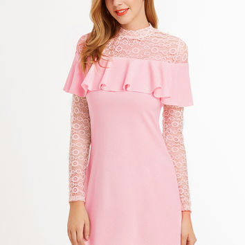 Pink Embroidered Lace Yoke And Sleeve Ruffle Dress | MakeMeChic.COM