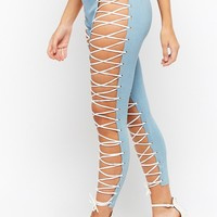 Lace-Up Chambray Leggings