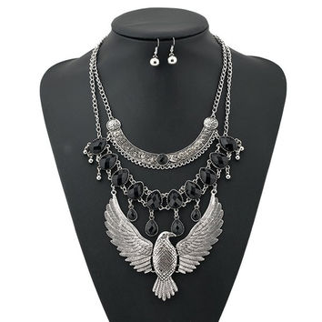 Silver Layered Water Drop Eagle Necklace and Earrings