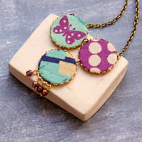 Big Necklace with Butterfly in Lilac and Blue - Spring, Designer Necklace