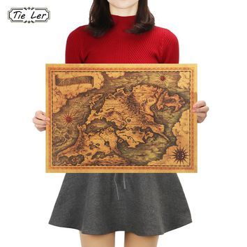 TIE LER Game of Thrones Map Vintage Kraft Paper Poster Interior Bar Cafe Decorative Painting Wall Sticker 42X30cm