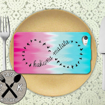 Hakuna Matata Infinity Symbol Inspired Blue Pink Rubber Tough Case iPhone 4/4s and iPhone 5 and 5s and 5c and iPhone 6 and 6 Plus