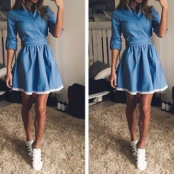 DCCKI2G FASHION DENIM LACE DRESS