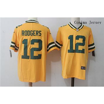 Danny Online Nike NFL Jersey Men's Vapor Untouchable Color Rush Green Bay Packers #12 Aaron Rodgers Football Jersey Yellow
