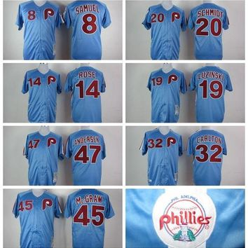 2016 New Cheap M&N Throwback Retro Philadelphia Phillies #14 Pete Rose #20 Mike Schmidt #32 Steve Carlton Baseball Jersey