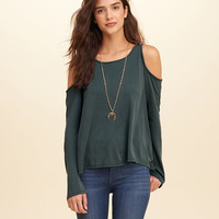 Sueded Jersey Cold Shoulder Top