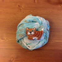 Art  brooch cat brooch pin cat lover gift cat jewelry Hand painted brooch Textile brooch funny brooch  Fashion accessories Red cat Cute cat