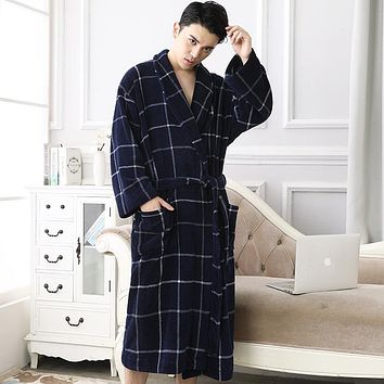 2017 Winter Plaid Flannel Robes Male Terry bathrobe men Plus Size warm luxury autumn Coral Fleece Dressing Gown long nightdress